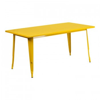 31.5'' X 63'' RECTANGULAR YELLOW METAL INDOOR-OUTDOOR TABLE