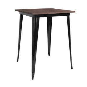 31.5'' SQUARE BAR HEIGHT BLACK METAL INDOOR-OUTDOOR TABLE / WOOD TOP