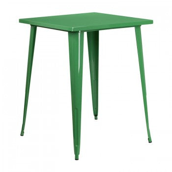 31.5'' SQUARE BAR HEIGHT GREEN METAL INDOOR-OUTDOOR TABLE