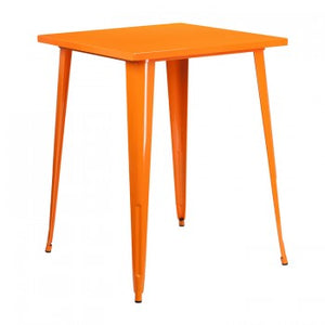 31.5'' SQUARE BAR HEIGHT ORANGE METAL INDOOR-OUTDOOR TABLE
