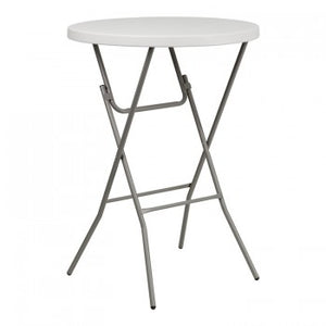 32'' ROUND GRANITE WHITE PLASTIC BAR HEIGHT FOLDING TABLE [RB-32RB-BAR-GW-GG]