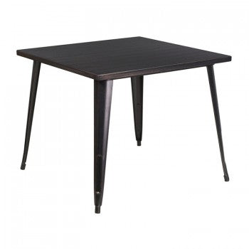 35.5'' SQUARE BLACK-ANTIQUE GOLD METAL INDOOR-OUTDOOR TABLE