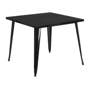 35.5'' SQUARE BLACK METAL INDOOR-OUTDOOR TABLE