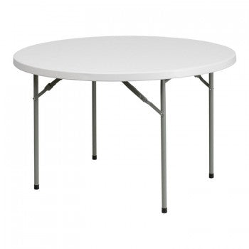 48'' ROUND GRANITE WHITE PLASTIC FOLDING TABLE [RB-48R-GG]