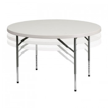 48'' ROUND HEIGHT ADJUSTABLE GRANITE WHITE PLASTIC FOLDING TABLE [RB-48-ADJUSTABLE-GG]