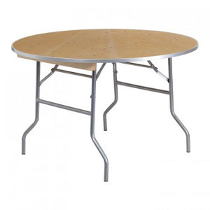 48'' ROUND HEAVY DUTY BIRCHWOOD FOLDING BANQUET TABLE WITH METAL EDGES [XA-48-BIRCH-M-GG]