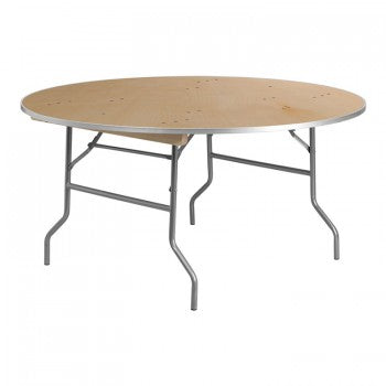 60'' ROUND HEAVY DUTY BIRCHWOOD FOLDING BANQUET TABLE WITH METAL EDGES [XA-60-BIRCH-M-GG]