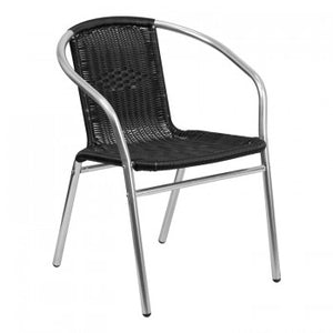 ALUMINUM AND BLACK RATTAN COMMERCIAL INDOOR-OUTDOOR RESTAURANT STACK CHAIR [TLH-020-BK-GG]
