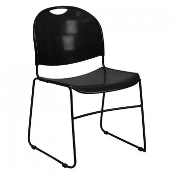 ADRIA SERIES BLACK ULTRA COMPACT STACK CHAIR WITH BLACK FRAME