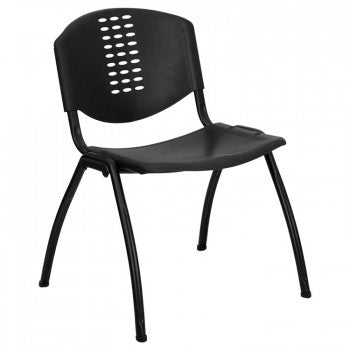 ADRIA SERIES BLACK PLASTIC STACK CHAIR WITH BLACK FRAME