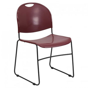 ADRIA SERIES BURGUNDY ULTRA COMPACT STACK CHAIR WITH BLACK FRAME