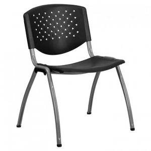 ADRIA SERIES BLACK PLASTIC STACK CHAIR WITH TITANIUM FRAME PERFORATED BACK
