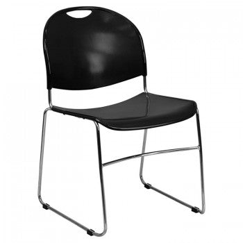 ADRIA SERIES BLACK ULTRA COMPACT STACK CHAIR WITH CHROME FRAME