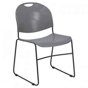 ADRIA SERIES GRAY ULTRA COMPACT STACK CHAIR WITH BLACK FRAME