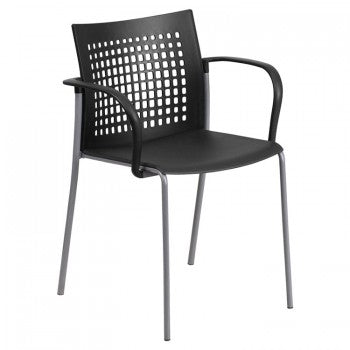 ADRIA SERIES BLACK STACK CHAIR WITH AIR-VENT BACK AND ARMS