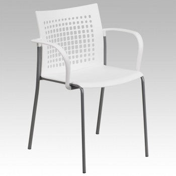 ADRIA SERIES WHITE STACK CHAIR WITH AIR-VENT BACK AND ARMS