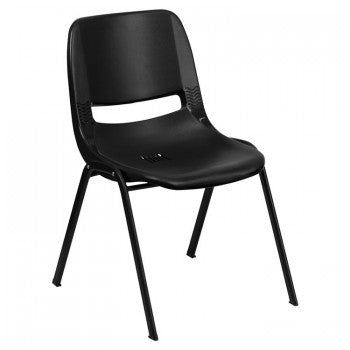 ADRIA SERIES BLACK ERGONOMIC SHELL STACK CHAIR WITH BLACK FRAME AND 12'' SEAT HEIGHT