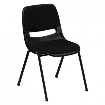 ADRIA SERIES BLACK ERGONOMIC SHELL STACK CHAIR WITH PADDED SEAT AND BACK