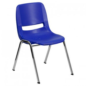 ADRIA SERIES NAVY ERGONOMIC SHELL STACK CHAIR WITH CHROME FRAME AND 16'' SEAT HEIGHT