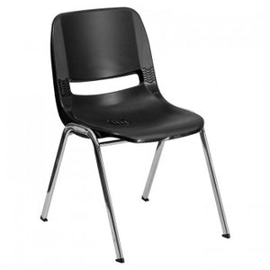 ADRIA SERIES BLACK ERGONOMIC SHELL STACK CHAIR WITH CHROME FRAME AND 12'' SEAT HEIGHT