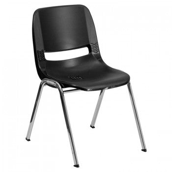 ADRIA SERIES BLACK ERGONOMIC SHELL STACK CHAIR WITH CHROME FRAME AND 16'' SEAT HEIGHT