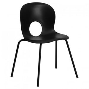 ADRIA SERIES DESIGNER BLACK PLASTIC STACK CHAIR WITH BLACK FRAME