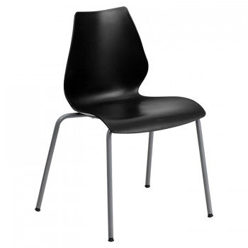 ADRIA SERIES BLACK STACK CHAIR WITH LUMBAR SUPPORT AND SILVER FRAME