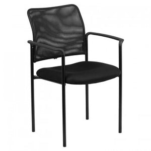 ADRIA SERIES COMFORT BLACK MESH STACKABLE STEEL SIDE CHAIR WITH ARMS