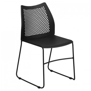 ADRIA SERIES BLACK SLED BASE STACK CHAIR WITH AIR-VENT BACK