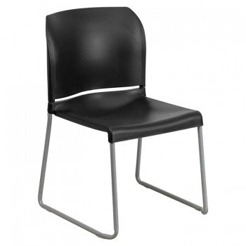 ADRIA SERIES BLACK FULL BACK CONTOURED STACK CHAIR WITH SLED BASE