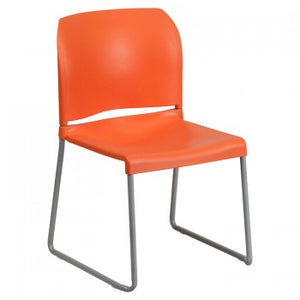 ADRIA SERIES ORANGE FULL BACK CONTOURED STACK CHAIR WITH SLED BASE