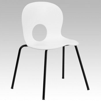 ADRIA SERIES DESIGNER WHITE PLASTIC STACK CHAIR WITH BLACK FRAME