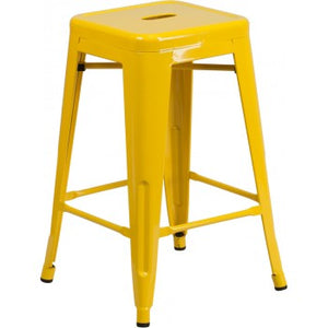 "PHOENIX - 24"" BACKLESS YELLOW METAL BAR STOOL / WOOD SEAT OPTION"
