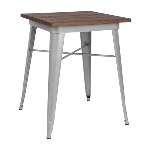 23.5'' SQUARE SILVER METAL INDOOR-OUTDOOR TABLE / WOOD TOP