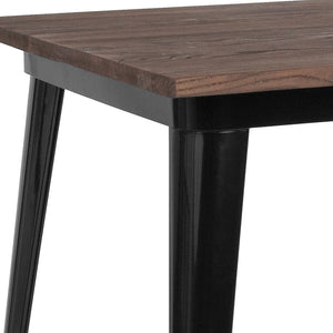 36'' SQUARE BLACK METAL INDOOR-OUTDOOR TABLE / WOOD TOP