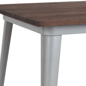 36'' SQUARE SILVER METAL INDOOR-OUTDOOR TABLE / WOOD TOP
