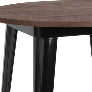 26'' ROUND BLACK METAL INDOOR-OUTDOOR TABLE / WOOD TOP
