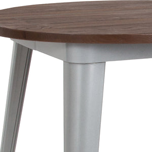 26'' ROUND SILVER METAL INDOOR-OUTDOOR TABLE / WOOD TOP