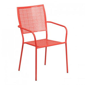 CORAL INDOOR-OUTDOOR STEEL PATIO ARM CHAIR WITH SQUARE BACK [CO-2-RED-GG]