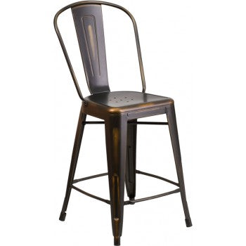 PHOENIX - 24'' High Distressed Copper Metal Indoor Counter Height Stool