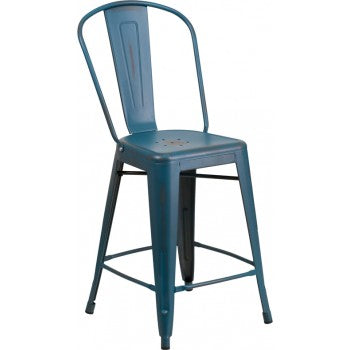 PHOENIX - 24'' High Distressed Kelly Blue Metal Indoor Counter Height Stool