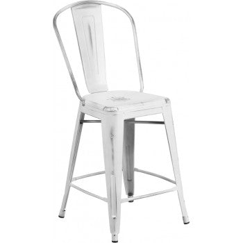 PHOENIX - 24'' High Distressed White Metal Indoor Counter Height Stool