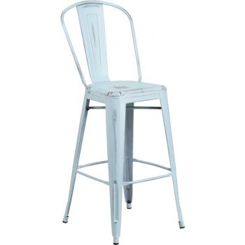 PHOENIX - 30'' High Distressed Dream Blue Metal Indoor Barstool