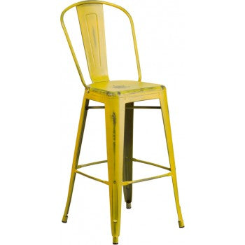 PHOENIX - 30'' High Distressed Yellow Metal Indoor Barstool