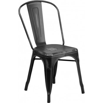 PHOENIX - DISTRESSED BLACK METAL CHAIR