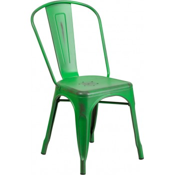 PHOENIX - DISTRESSED GREEN METAL CHAIR