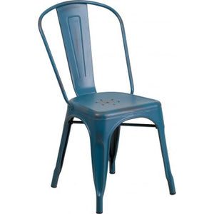 PHOENIX - DISTRESSED KELLY BLUE METAL CHAIR