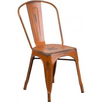 PHOENIX - DISTRESSED ORANGE METAL CHAIR