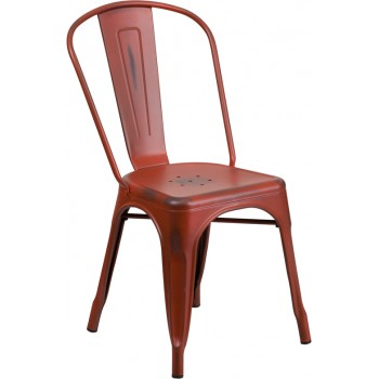PHOENIX - DISTRESSED KELLY RED METAL CHAIR