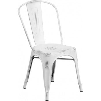 PHOENIX - DISTRESSED WHITE METAL CHAIR